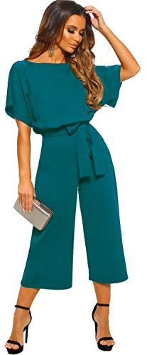 Formelle Hosen Anzüge (Longwu Damen Elegant Hohe Taille Kurze Ärmel Jumpsuit Casual Wide Leg Hose Lose Strampelanzug mit Gürtel - Blau - 42)