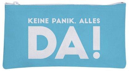 Pochette cosmétique étui bleu pas de panique tout ce qu'il en allemand Keine Panik, alles da!