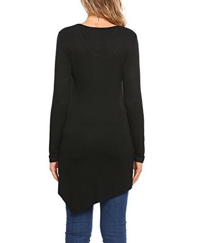 Femme T-Shirt à Manches Longues Casuel Bouton Top Tunique en Col Rond Noir (Longue)