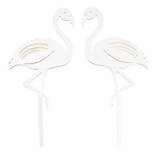 YeahiBaby 2 stücke Kuchendeckel mit Flamingo Form Decor Acryl Cupcake Toppers Picks für Hochzeit Geburtstag Party Kuchen Dekoration Lieferungen (Silber)