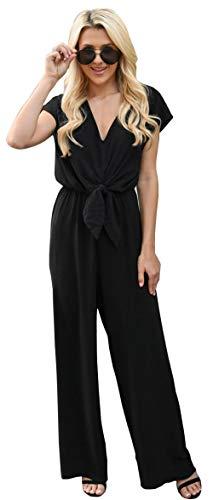 Longwu Damen Casual Krawatte vorne, offene Rücken, Kombination, breite Beine Gr. 38 DE L, Schwarz - Schwarzen Anzug Hose Flach Vorne