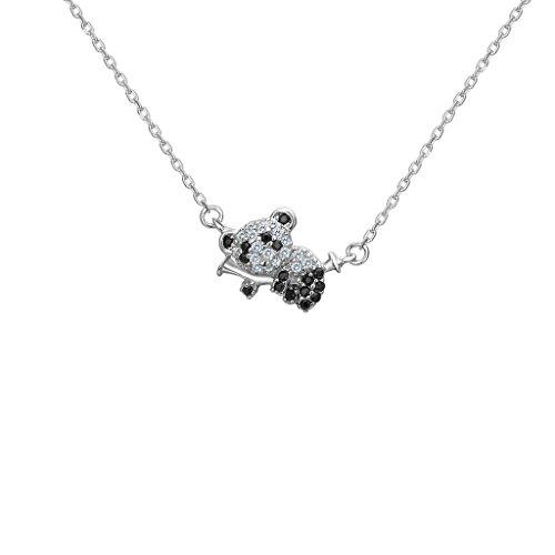 FANZE 925 Sterling Silber Cubic Zirconia Cute Panda klettern Bambus Tier Anhänger Halskette