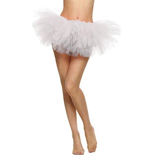 Feoya Sexy Mini Jupe Tutu Courte Bal Ballet Tulle 5 Couches en Dentelle Costume Femme Jupon Princesse Bouffée Plissé pour Danse Cosplay Déguisement Elastique Soirée Scène Tour de taille 64-90cm Blanc