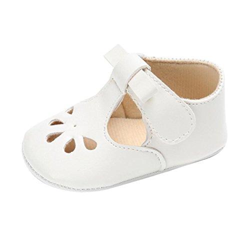 Webla Baby Girls Boys Soft Sole Crib Shoes Close Toe Sandals Toddler Anti-Slip Velcro Shoes (Age:0~6 Month, White)