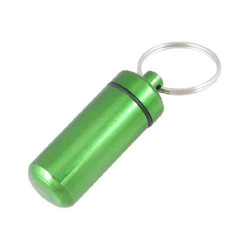 Preisvergleich Produktbild sourcingmap(r) Tasche Größe grün Aluminium Pille Box Container Flasche mit Schlüsselanhänger