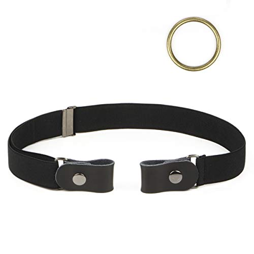 Lalafancy Updated Stretch Belt without Buckle for Woman Man Adjustable Invisible Belt with Flat Leather Belt, More Invisible and Comfortable (Black, Waist 32'-48 ')