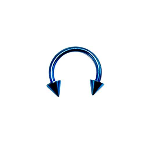 16 Gauge - 10 MM Länge blau eloxiertem 316L chirurgischer Stahl Circular Barbell mit Kegel Septum Piercing
