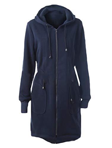 CuteRose Womens Zips Pockets Loose Outwear Sweatshirts Hoodie Jacket Coat Navy Blue M Womens Navy Peacoat