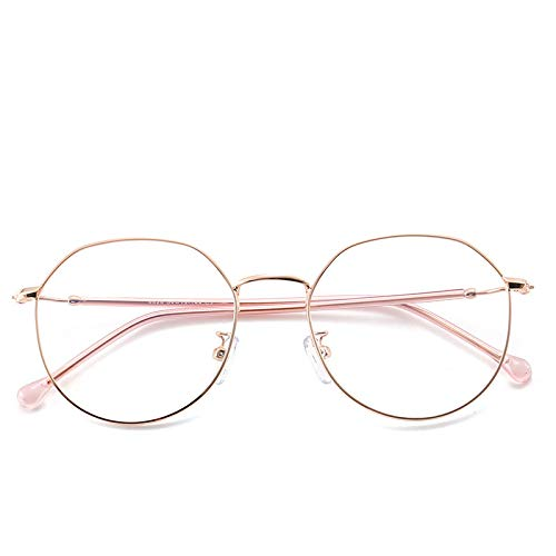 Yangjing-hl Trend unregelmäßigen Brillengestell Polygon Flachspiegel Metall Vollformat Brillengestell Goldrahmen -