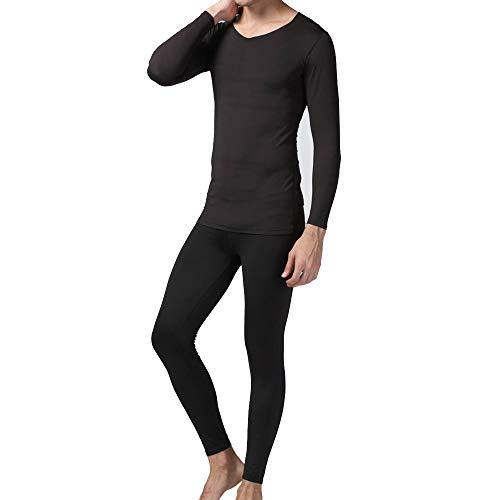 Men Thermal Underwear Pyjama Set Long Sleeve Base Layer T-Shirt Top And Bottom