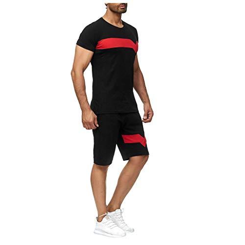Sportanzug Herren T-Shirt + Shorts Set Sport Hemd Strand Kurzarm Mode Kurze Hose Männer Muskel Shirt Bademode Casual Tops Anzug Jogging Hosen Fitness Bermuda Sweatpants Herrenanzug Black Hooded Jogging-set
