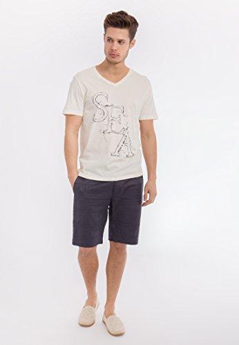 MEXX Basic Shirt mit V-Ausschnitt und Druck, Kurzarm Herren Regular Fit V-ausschnitt Kurzarm MX3023145 Hellgelb