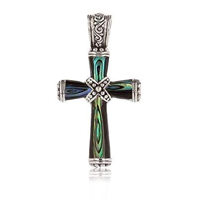 Idée Cadeau bijoux Pendentif Nacre abalone- Argent massif forme croix-femme-homme