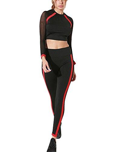 Femme Exercice Tops Avec Tulle 2 Pièces Ensemble Pantalons Jogging Fitness Running Yoga Noir