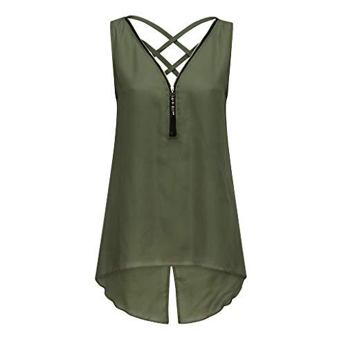 KIMODO Tank Tops Damen Unregelmäßiger Saum mit Reißverschluss und V-Ausschnitt, Sommer Camisole Bluse ärmelloses T Shirt, Zurück Criss Cross Weste -