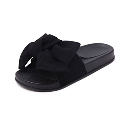 Fluores pantofole da donna con fiocco in tessuto di canapa bowtie scivoli sandali piatti in gomma pantofole da casa scarpe casual da donna di grandi dimensioni black 10