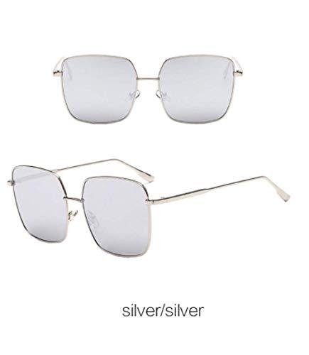 Wang-RX Vintage Metall Objektiv Sonnenbrille Frauen Übergröße Platz Sonnenbrille Reflektierende Spiegel Gläser Uv400