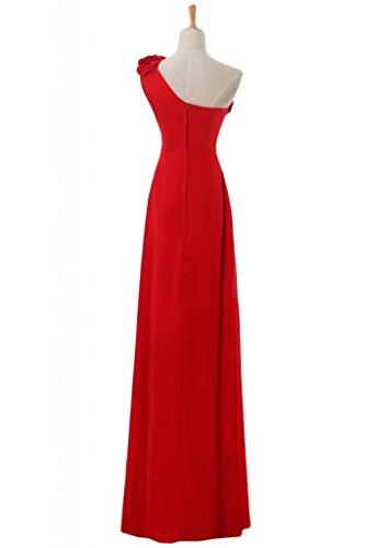 Sunvary elegante Chiffon Una spalla arricciato, per abiti da sera o da cerimonia, con diamanti Red
