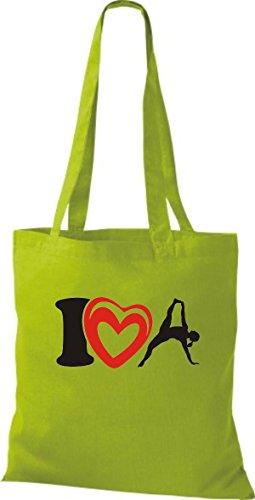 T-shirt Di Stoffa Di Cotone T-shirt Di Yogo Yoga Che Amo La Ginnastica Sportiva Di Colore Rosa Kiwi