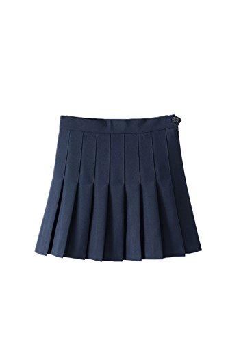Donna Elegante Alto Vita Piegata Carino Scuola Una Linea Mini Gonna Blue