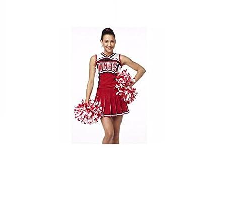 GGTBoutique Déguisement de Cheerleader de la série Glee pour femme, uniforme d'écolière, bal costumé, soirée - rouge -