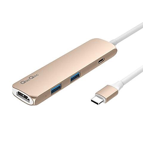 USB C Hub GN22B Multi-Ports Typ C Adapter mit 1 USB-C Ladeanchluss, 1 HDMI Port, 2 USB 3.0 Port s mit rasender Geschwindigkeit Aluminumgehäuse geeignet für Macbook 2015/2016 und Macbook Pro 2016