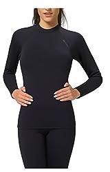 Gwinner Damen Thermo Funktionsunterwäsche Warmline, Sportunterwäsche Langarm Shirt, Top I, schwarz, L