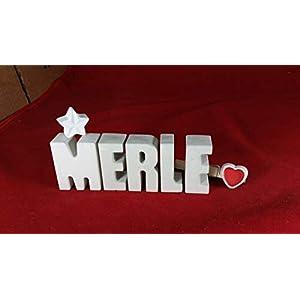 Beton, Steinguss Buchstaben 3 D Deko Schriftzug Namen MERLE als Geschenk verpackt! Ein ausgefallenes Geschenk zur Geburt…