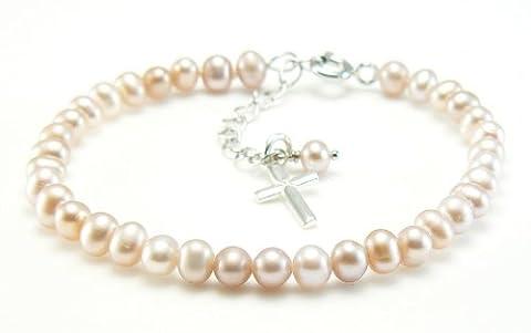 Perles d'eau douce et argent sterling Croix Bracelet à breloques–Filles communion Cadeau