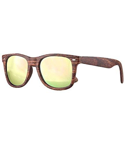 Caripe Retro Nerd Vintage Sonnenbrille verspiegelt Damen Herren 80er - SP (Holzoptik Braun - Neon-Rosa verspiegelt-525X)