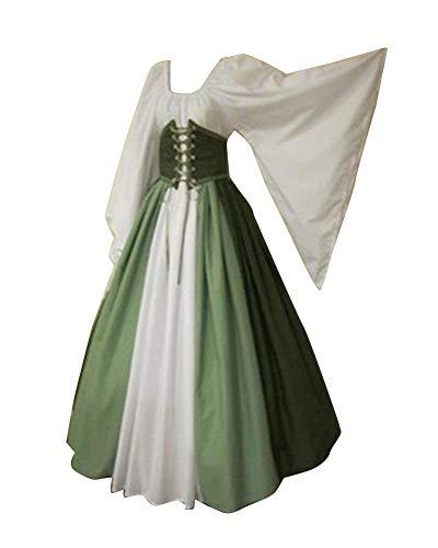 Guiran Donna Abito Vestito Lungo Medievali Abiti Halloween Cosplay Costume Army Green 3XL