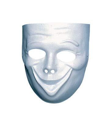 Horror-Shop Weiße Gesichtsmaske Komödie - Halbmaske für Fasching (Gesicht Wahre Halloween-maske)