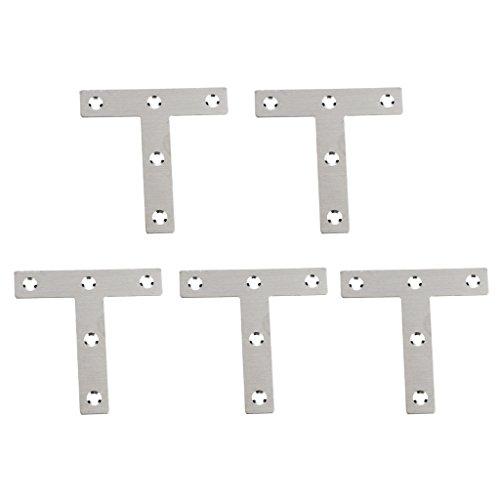 Preisvergleich Produktbild Homyl 5 Stücke 80 x 80mm T Form rechtwinklig flache Befestigungsplatte Ecke Klammer