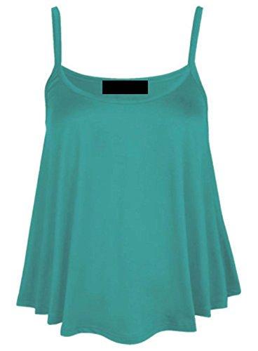 Da donna tinta unita a punta Swing gilet Top senza maniche con il cinturino Cami da donna Le misure Plus 8-22 Jade Green