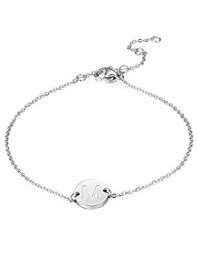 BE STEEL Edelstahl Armbänder für Damen Mädchen Initiale Armband Armkette Buchstaben M 16.5+5CM