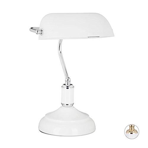 Relaxdays Lampe de banquier notaire bibliothèque lampe de bureau lampe de lecture blanc abat-jour verre vintage retro-HxlxP: 36 x 26 x 21 cm