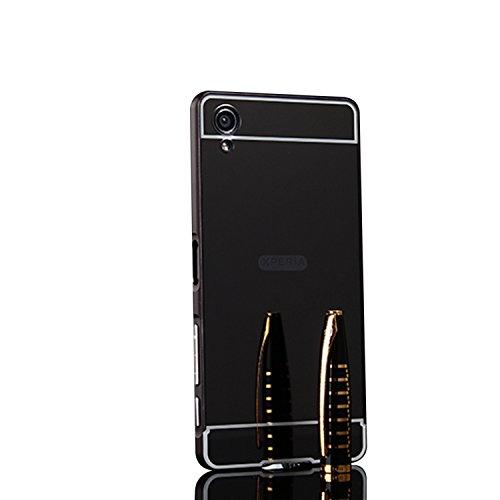 Spiegel Hülle Mirror Case TPU Schutzhülle Silikon Handyhülle Tasche Case Cover für XA1 Plus, Schwarz