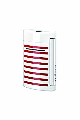 S.T. Dupont Minijet Feuerzeug,&nbspMotiv: Schwarzer Totenkopf White/Red Stripes