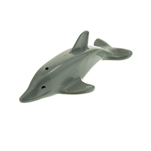 Preisvergleich Produktbild 1 x Lego System Tier Delfin Delphin Tümmler hell grau Fisch mit Achshalter z.B. Zoo Aquarium Hafen Strand für Set 6435 6441 5845 8544 6228b