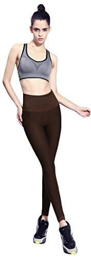 GoodNight Calzamaglia sottile di abbigliamento sportivo di Yoga Capris di alta vita di colore puro Marrone 2