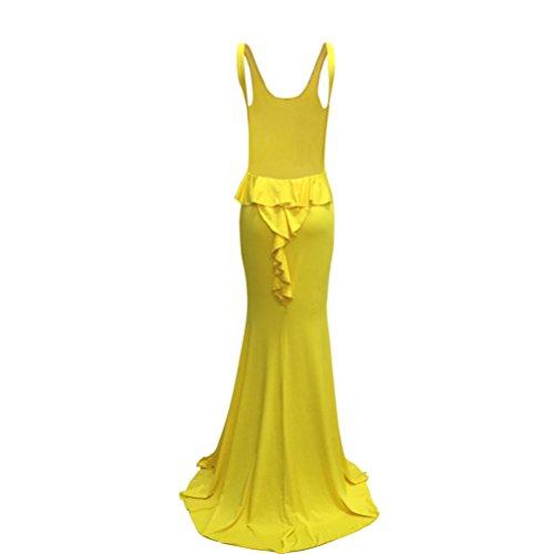 Womens Crew manches Sexy élégant cou dos nu de couleur unie Fishtail robe de soirée Jaune