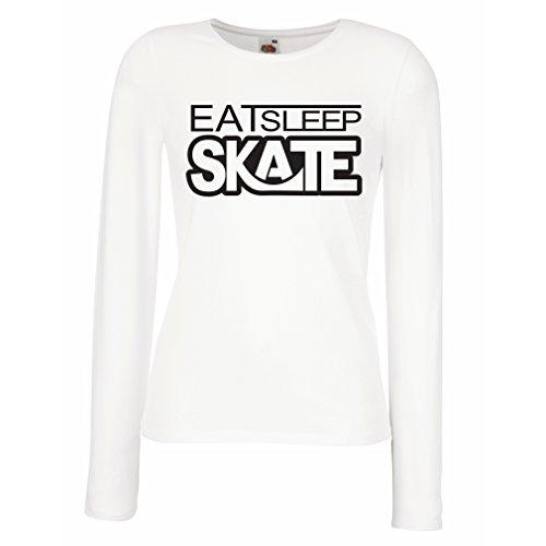 Weibliche langen Ärmeln T-Shirt Eat - Sleep - Skate - für Skater, Skate Longboard, Skateboard Geschenke Weiß Schwarz