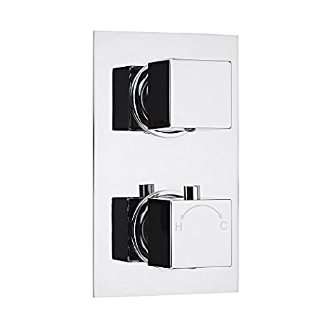 Concealed Thermostatic Twin Valve Shower Tap- Rectangular Plate with Square Handles