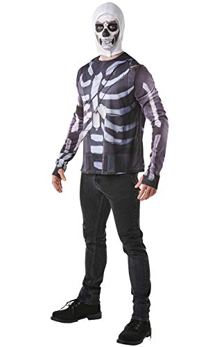 Rubie's - Offizielles Fortnite Skull Trooper Kostüm Set, Gaming Skin Schwarz Size Large, Chest 42-44 Inch