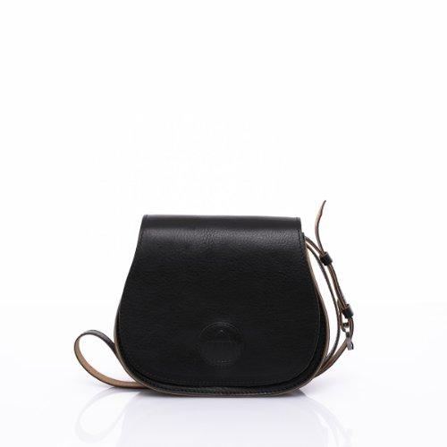 Slowbag SLOW BALL Exklusive handgemachte Handtasche für Damen Naturleder schwarz&sand