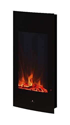 Noble Flame Detroit - Elektrokamin Wandkamin Kamin-Ofen - 408 mm breit inkl. Elektroeinsatz mitHeizfunktion - Ambiente-Wandbeleuchtung - schwarz