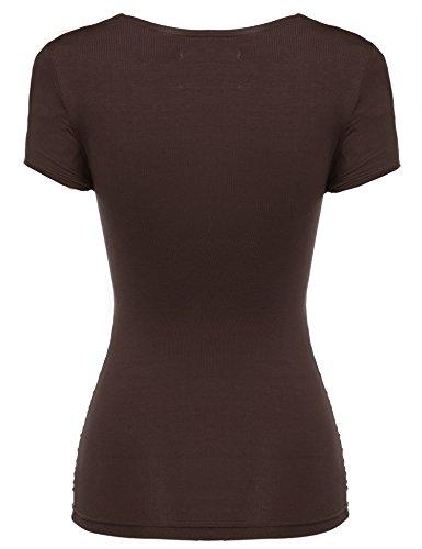 Zeagoo Damen Sexy V-Ausschnitt Kurzarm Tunika Blusen Oberteile Shirt mit Rüschen A-Dunkelbraun