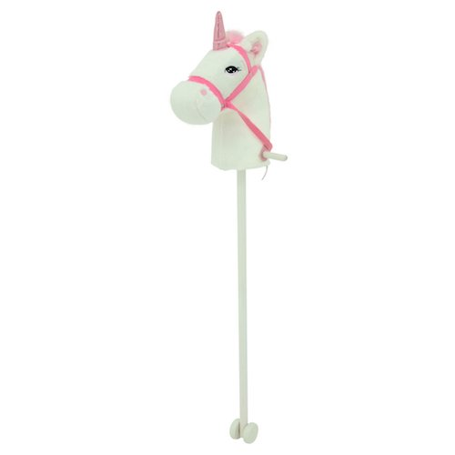 Sweety Toys 10554 Einhorn Steckenpferd Weiss mit Funktion Gewieher und Galoppgeräusch