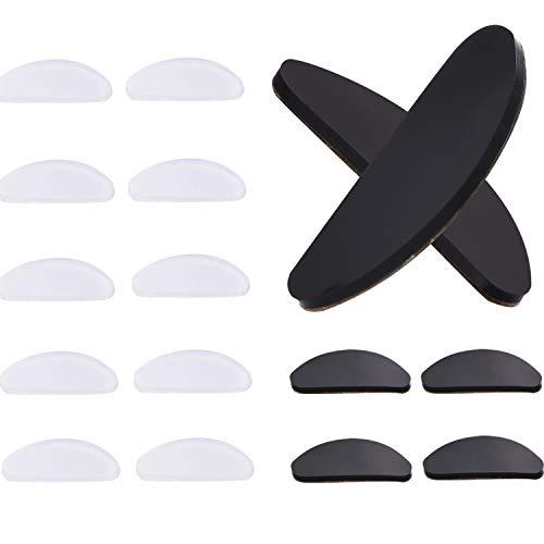10 Paare Adhesive Nasenpads Anti Rutsch Silikon Brillen Pads für Gläser Sonnenbrille Brille (Transparent und Schwarz, 1 mm)