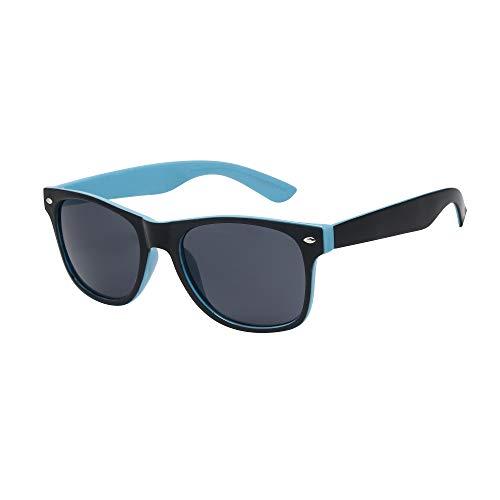 ASVP Shop Klassische Sonnenbrille, Damen/ Herren, verspiegelt, Vintage-Design, Retro-Stil, Pilotenbrille Gr. Medium, Black / Blue (WF10)